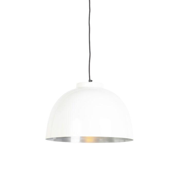 Hanglamp-wit-met-stalen-binnenkant-40-cm---Hoodi