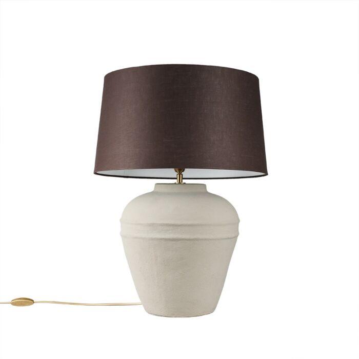 Tafellamp-Arta-small-grijs-met-kap-45cm-bruingrijs