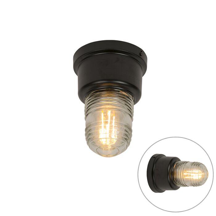 Industriele-plafondlamp-zwart-staal-met-vintage-glas---Plane
