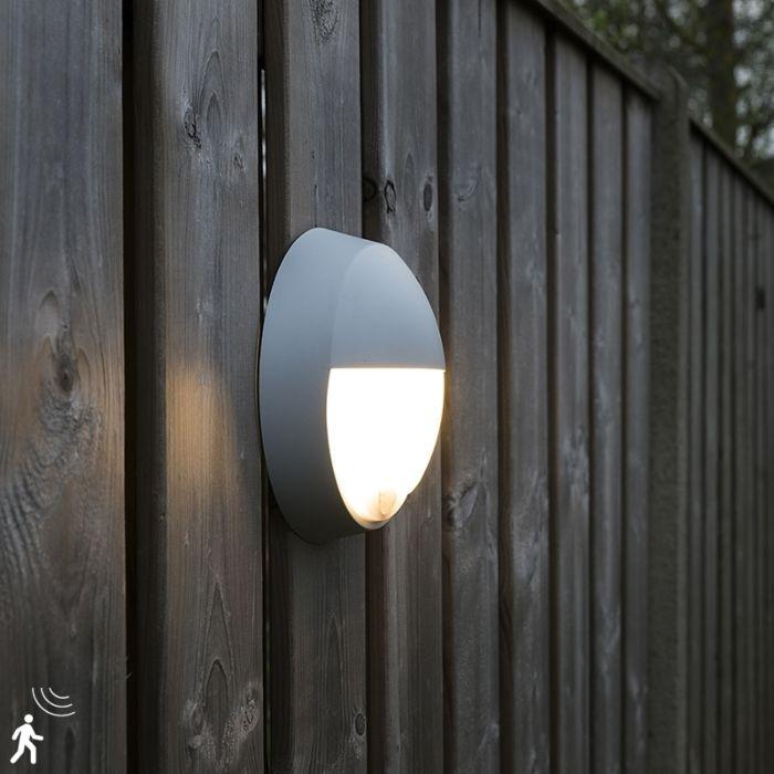 Buitenwandlamp-grijs-incl.-LED-met-bewegingssensor-IP54---Hortus
