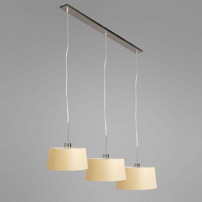 Hanglamp-Combi-3-staal-met-kap-35cm-creme