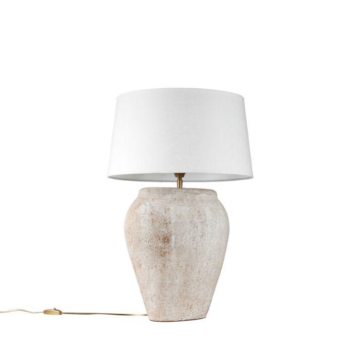 Tafellamp-Blava-ovaal-scotch-met-kap-45cm-wit