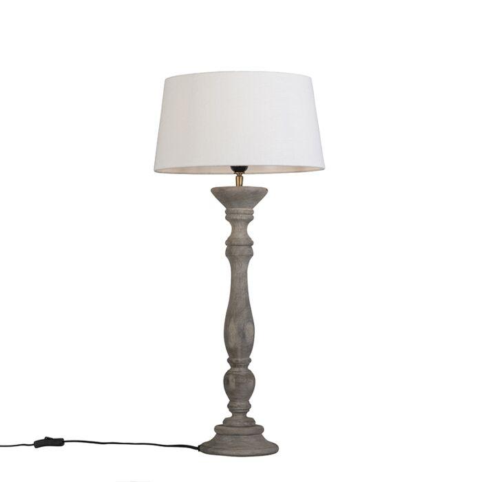 Tafellamp-Ritual-grijs-met-kap-35cm-wit