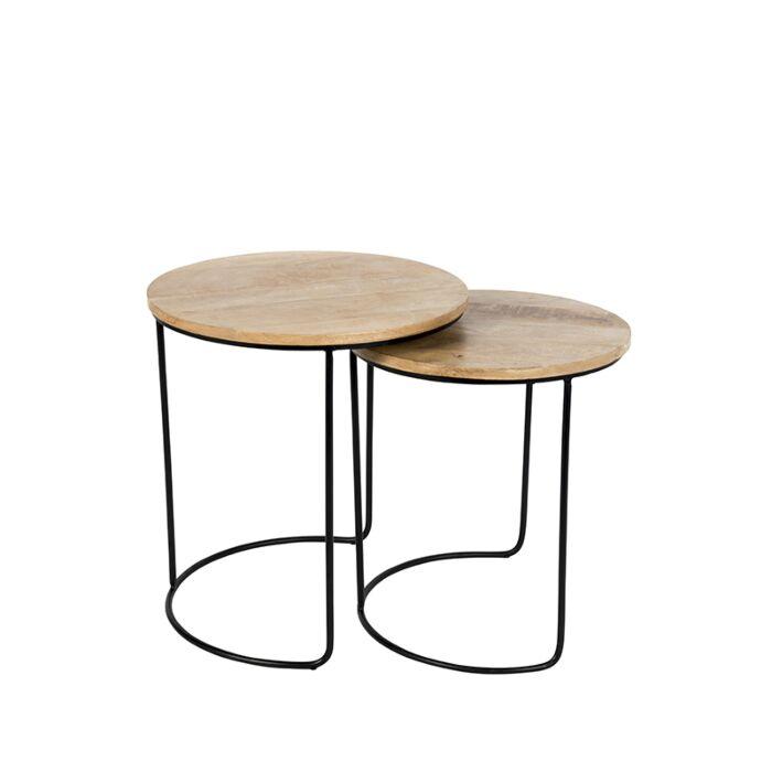 Bijzettafel-Hemis-zwart-met-hout-rond-set-van-2