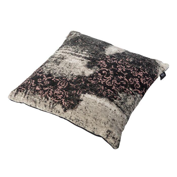 Vintage-vierkant-kussen-zwart/roze-45-x-45cm---Puri
