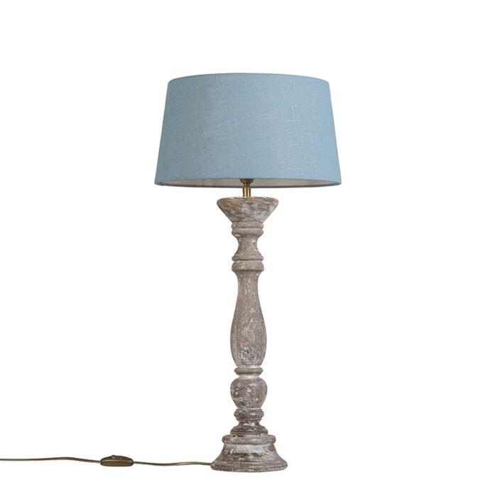 Tafellamp-Ritual-wit-met-kap-35cm-zee-blauw