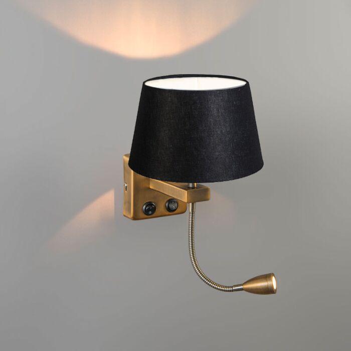 Wandlamp-Brescia-Combi-chroom-met-kap-20cm-zwart