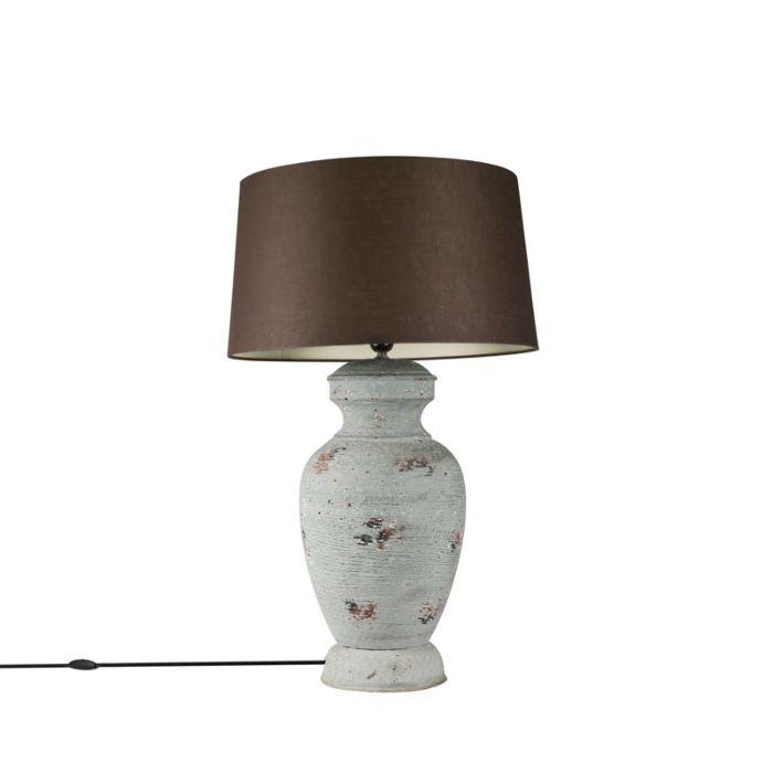 Tafellamp-voet-Barun-verweerd-grijs-met-kap-45cm-bruin