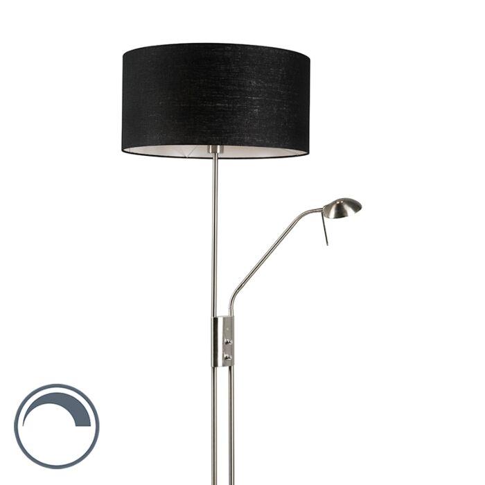 Vloerlamp-staal-en-zwart-met-verstelbare-leesarm---Luxor