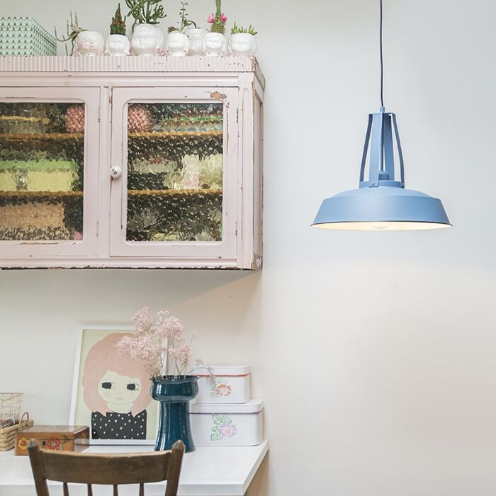 Vintage-hanglamp-blauw-43-cm---Living