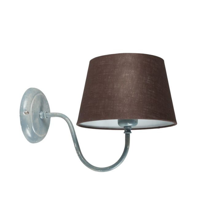 Wandlamp-Combi-Classic-beton-met-kap-20cm-bruingrijs