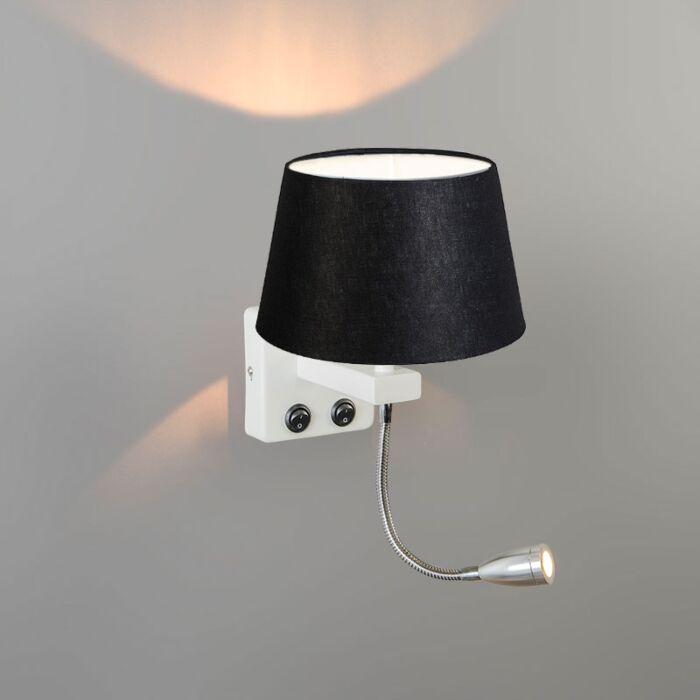 Wandlamp-Brescia-Combi-wit-met-kap-20cm-zwart