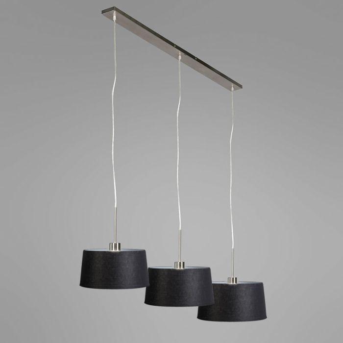 Hanglamp-Combi-3-staal-met-kap-35cm-zwart