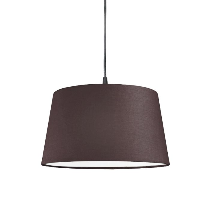 Pendel-80cm-E27-zwart-met-kap-45cm-bruingrijs