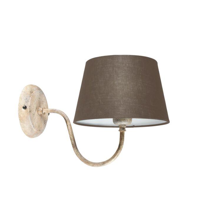Wandlamp-Combi-Classic-taupe-met-kap-20cm-taupe