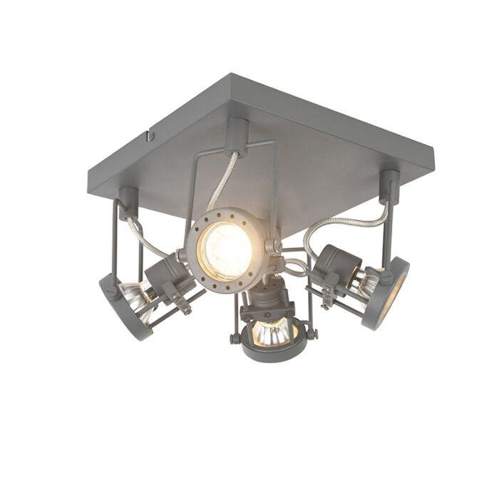 Industriële-spot-antraciet-4-lichts-draai--en-kantelbaar---Suplux
