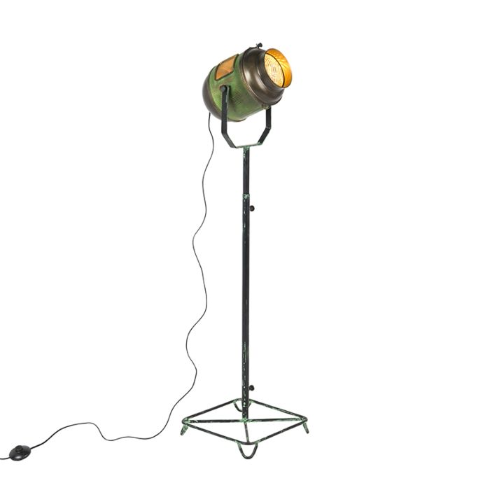Vintage-filmspot-vloerlamp-antiek-groen-met-brons-140-cm---Byron