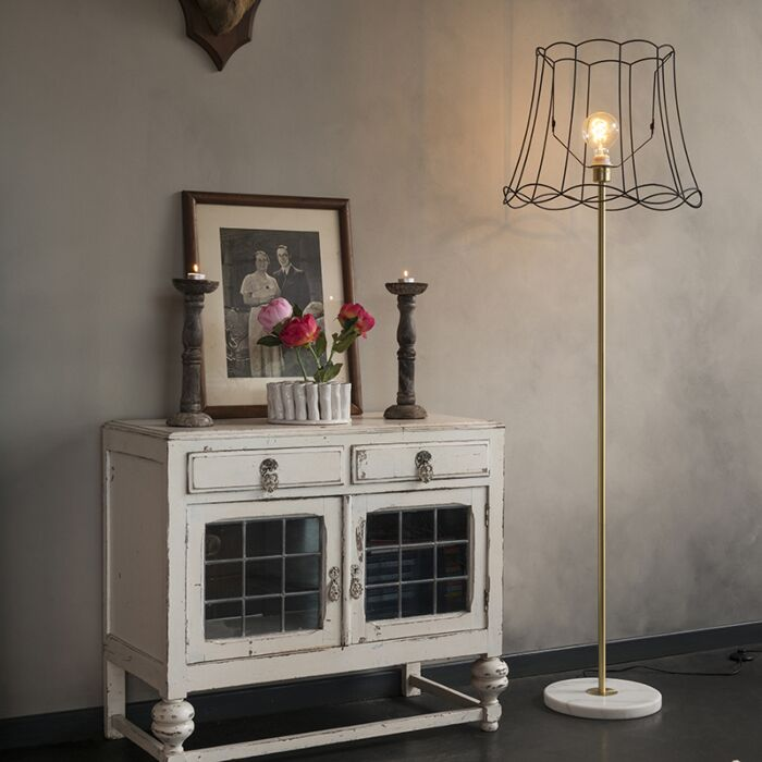 Retro-vloerlamp-messing-met-Granny-frame-zwart-45-cm---Kaso-