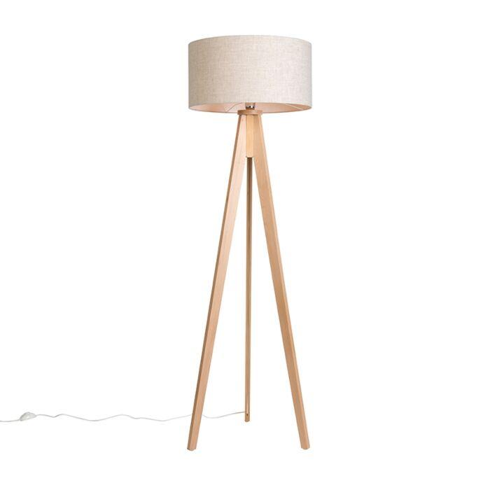 Vloerlamp-Tripod-Classic-blank-gestreept-met-kap-50cm-peper