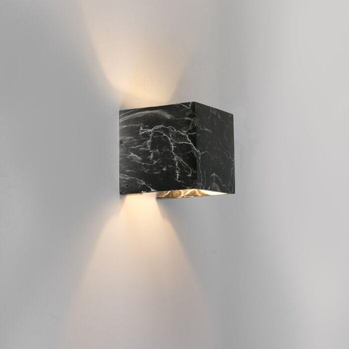 Moderne-vierkante-wandlamp-zwart-marmer---Alban