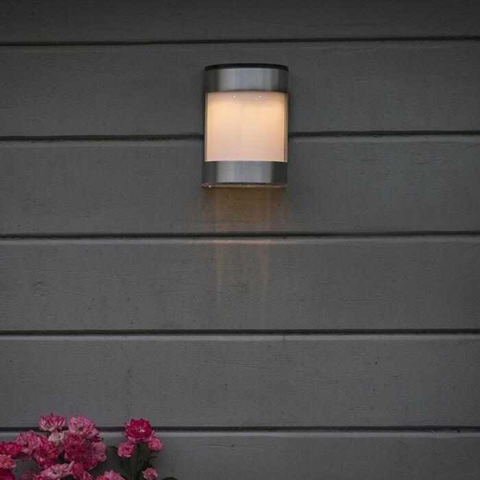 Buitenwandlamp-staal-IP44-op-zonne-energie-incl.-LED---Boston