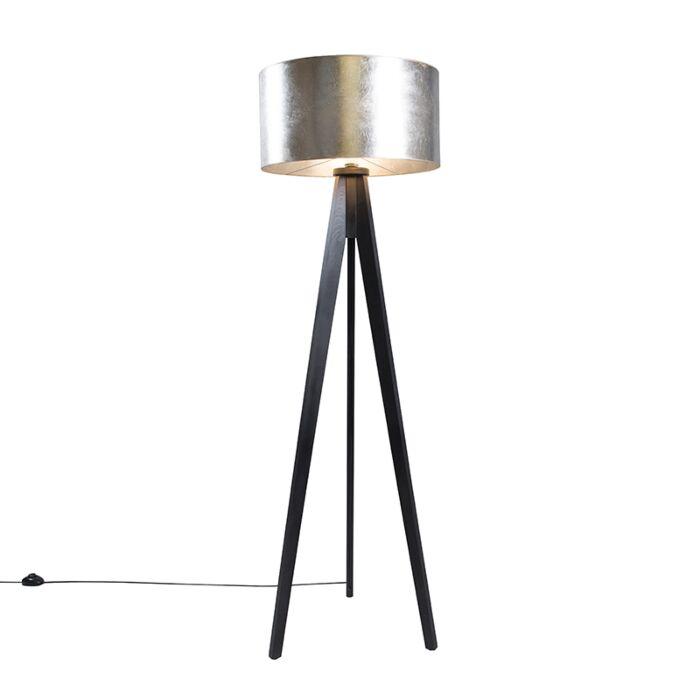 Vloerlamp-Tripod-Classic-zwart-met-kap-50cm-zilverbruin