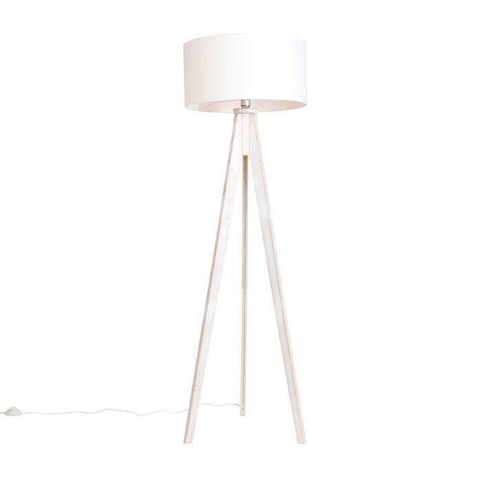 Vloerlamp-Tripod-Classic-wit-met-kap-50cm-off-white