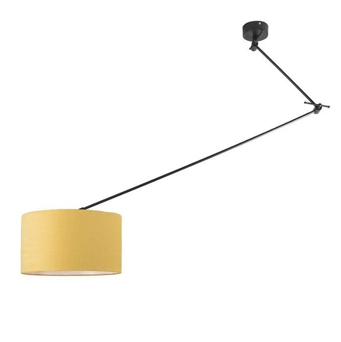 Hanglamp-zwart-met-kap-35-cm-geel-verstelbaar---Blitz-I