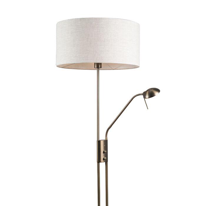 Vloerlamp-Luxor-brons-met-50cm-kap-peper