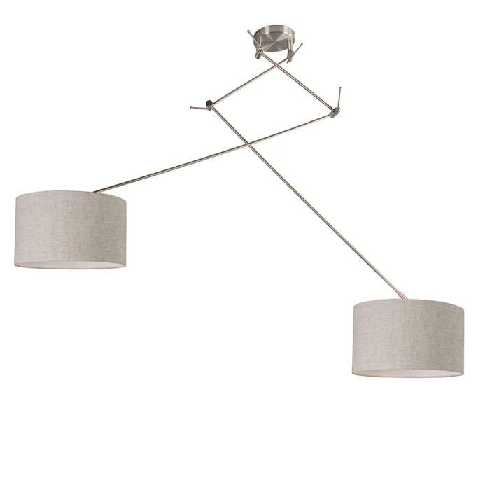 Hanglamp-staal-met-kap-35-cm-lichtgrijs-verstelbaar---Blitz-II