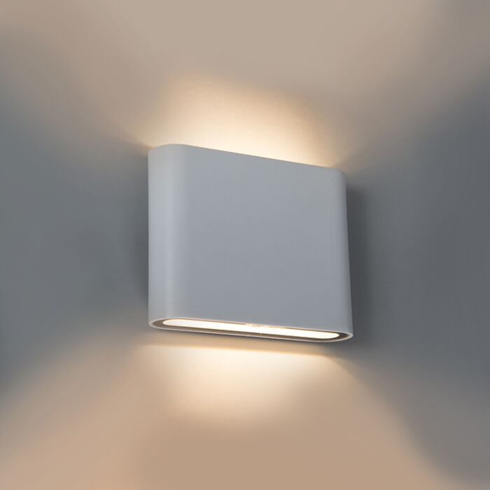 Moderne-buitenwandlamp-wit-11.5cm-incl.-5W-LED---Batt