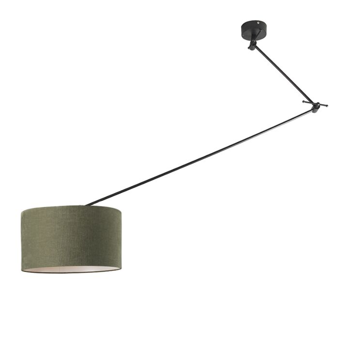 Hanglamp-zwart-met-kap-35-cm-groen-verstelbaar---Blitz-I