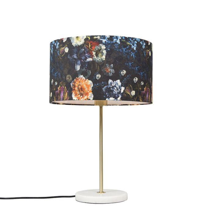 Moderne-tafellamp-messing-met-flora-kap-35-cm---Kaso