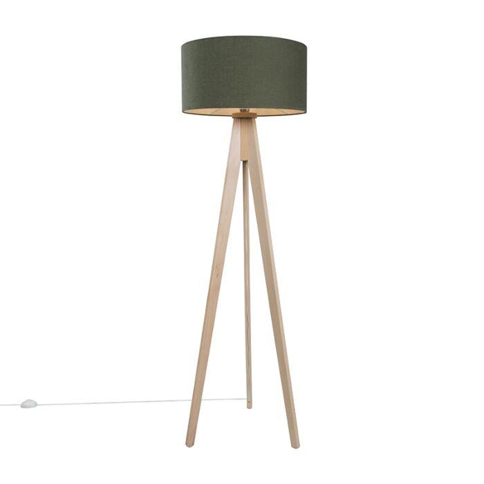 Vloerlamp-Tripod-Classic-blank-gestreept-met-kap-50cm-mos-groen