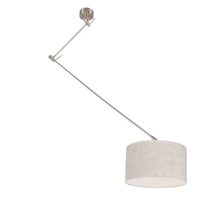 Hanglamp-staal-met-kap-35-cm-grijs-verstelbaar---Blitz-I