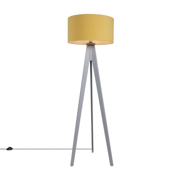 Vloerlamp-Tripod-Classic-grijs-met-kap-50cm-mais