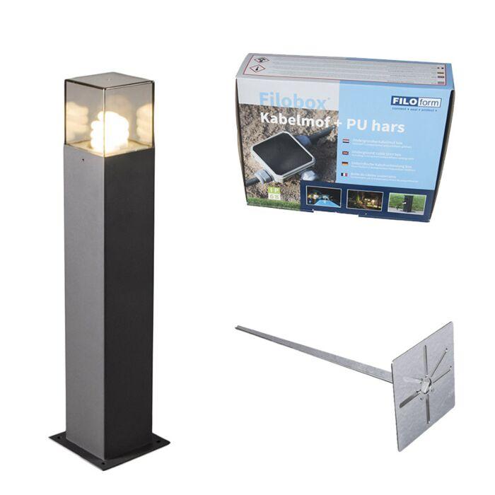 Buitenlamp-70-cm-antraciet-met-grondpin-en-kabelmof---Denmark