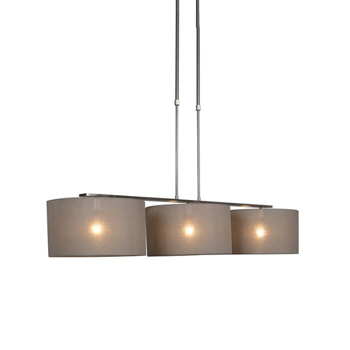 Hanglamp-Combi-3-Deluxe-staal-met-kap-35cm-taupe