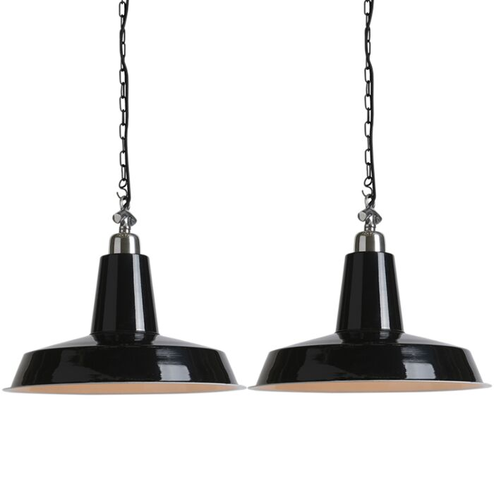 Set-van-2-industriële-hanglampen-zwart---Warrior
