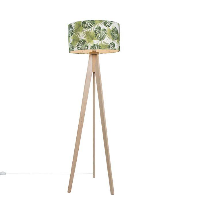 Vloerlamp-Tripod-Classic-blank-gestreept-met-kap-50cm-leaf