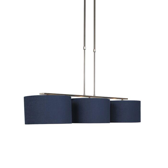 Hanglamp-staal-met-kap-antiek-blauw-35-cm---Combi-3-Deluxe