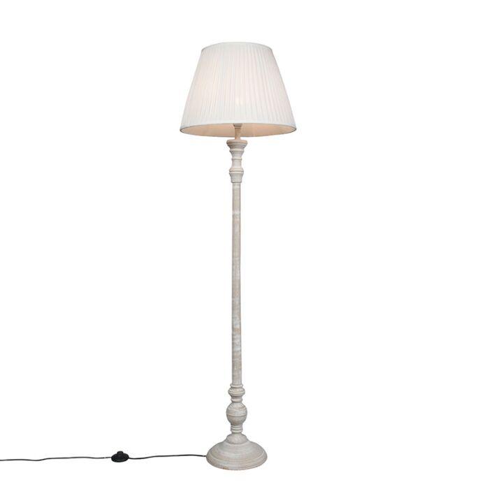 Landelijke-vloerlamp-grijs-met-witte-plissé-kap---Classico