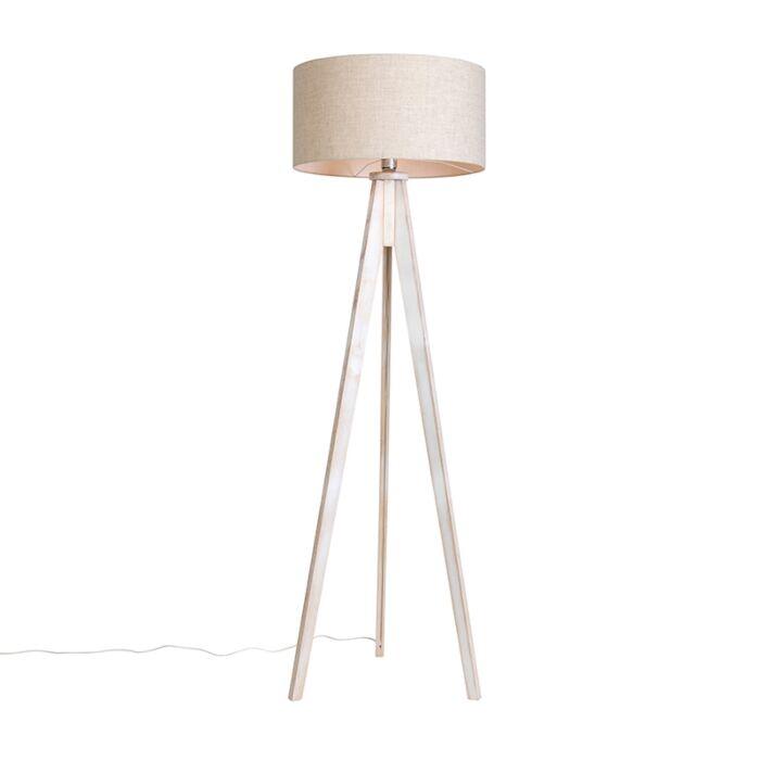 Vloerlamp-Tripod-Classic-wit-met-kap-50cm-peper