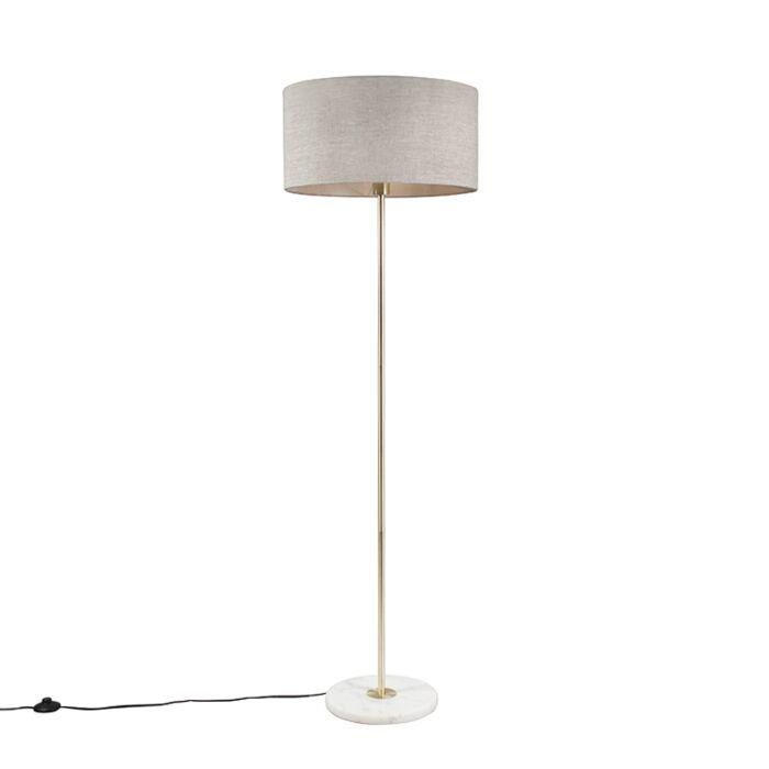 Vloerlamp-messing-met-grijze-kap-50-cm---Kaso
