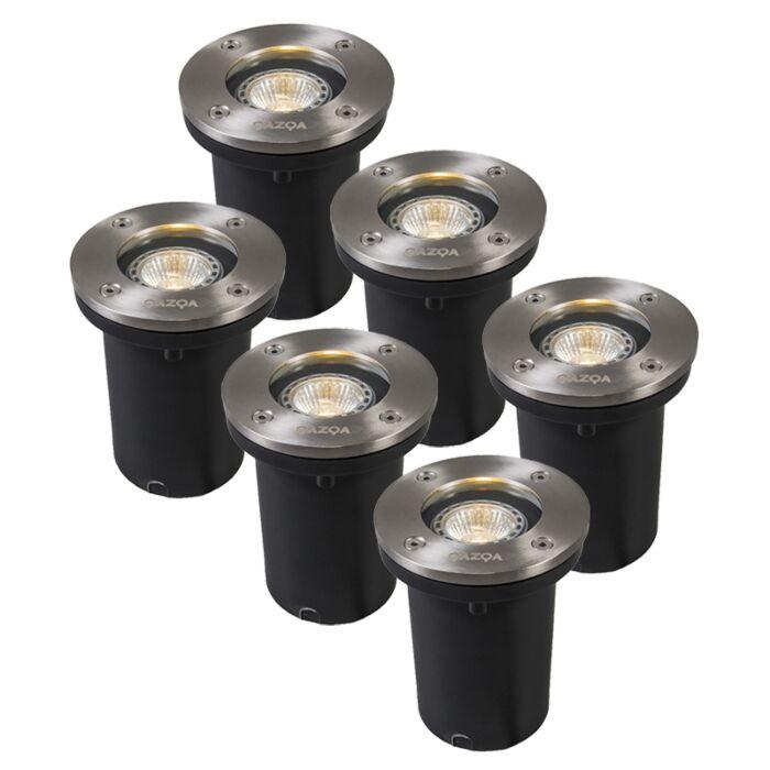 Set-van-6-buiten-grondspots-staal-IP65-incl-LED---Basic-Round