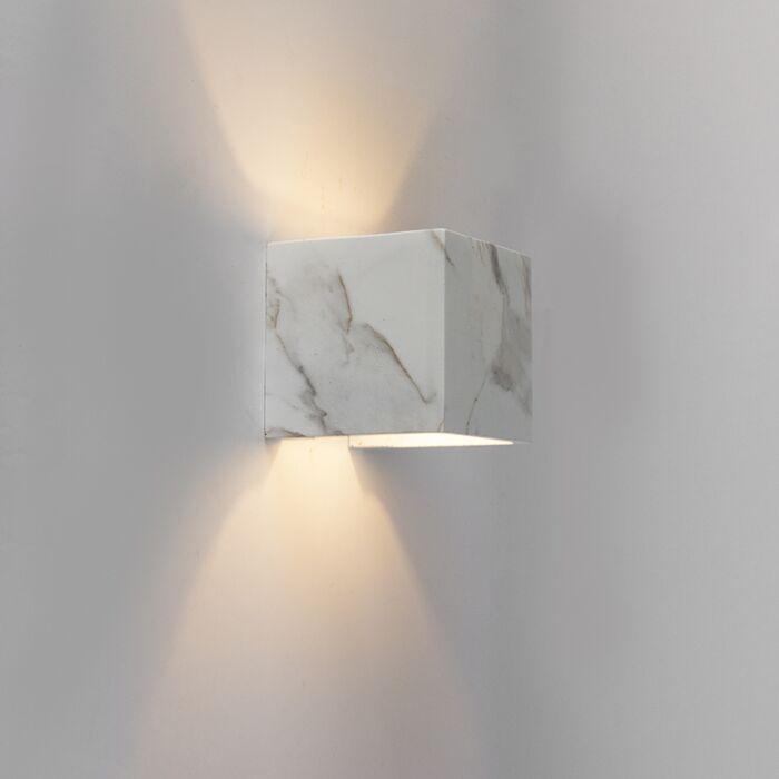 Moderne-vierkante-wandlamp-wit-marmer-look---Alban