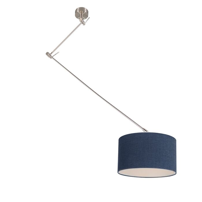 Hanglamp-staal-met-kap-35-cm-blauw-verstelbaar---Blitz-I