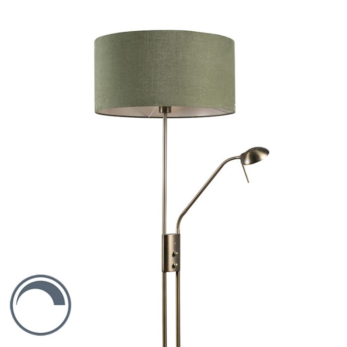 Vloerlamp-Luxor-brons-met-50cm-kap-mos-groen