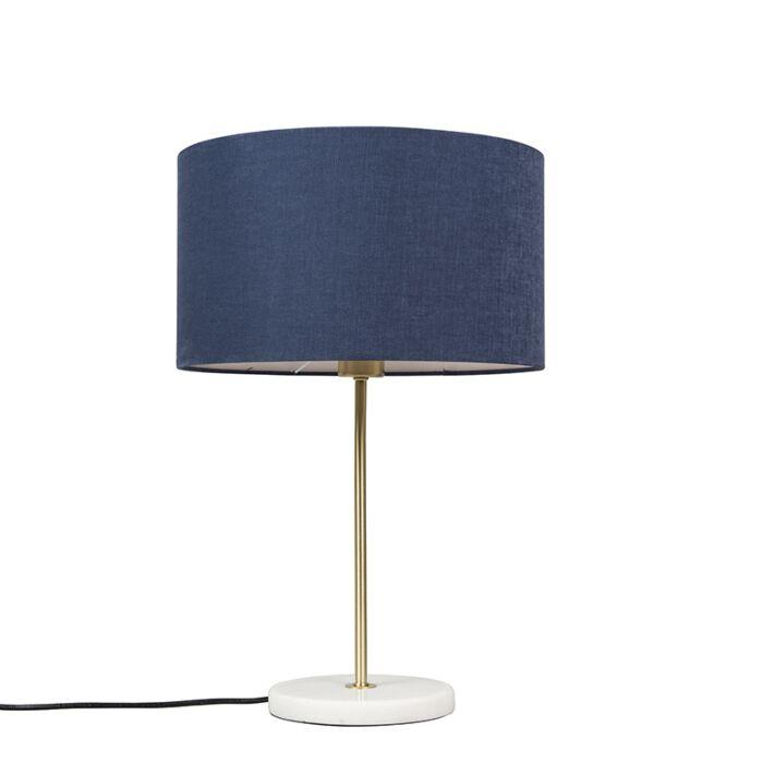 Tafellamp-messing-met-blauwe-kap-35-cm---Kaso