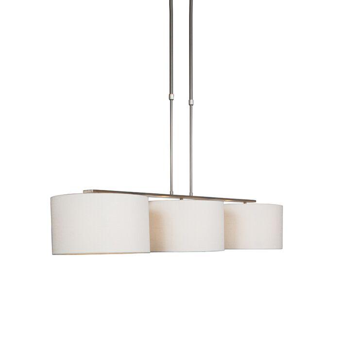 Moderne-hanglamp-staal-met-kap-wit---Combi-3-Deluxe